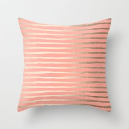Abstract Stripes Gold Coral Pink Throw Pillow