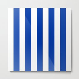 Royal azure - solid color - white vertical lines pattern Metal Print