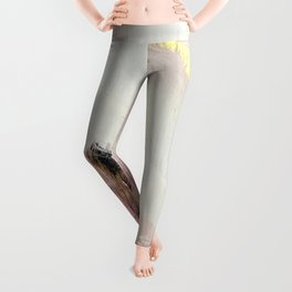 Sunrise [2]: a bright, colorful abstract piece in pink, gold, black,and white Leggings