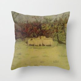 My Father with his dog and sheep Throw Pillow