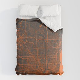 Detroit map orange Comforters