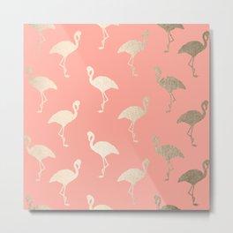 Gold Flamingo Pattern Coral Pink Metal Print