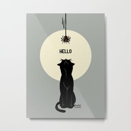 Spider and cat Metal Print