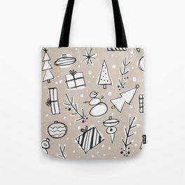 Christmas White and Kraft Sketches Tote Bag