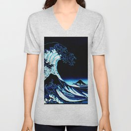 the Great Wave blue Unisex V-Neck