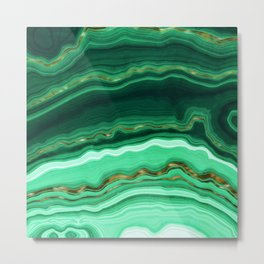 Gold And Malachite Marble Metal Print
