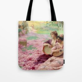 """Classical Masterpiece """"The Rose Festival"""" by Henry Siddons Mowbray Tote Bag"""