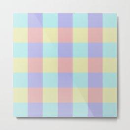 Plaid Blue Soft Yellow Rose Blush Lavender Cyan Tetradic Colour Blocks Metal Print