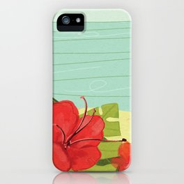 Hibiscus Beach - Red Tropical Flowers  iPhone Case