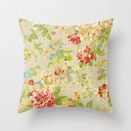 Rose Bird Floral Spring Throw Pillow