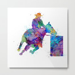 Barrel Racer Art Rodeo Gift Colorful Blue Purple Watercolor Gift Cowboy Art Metal Print