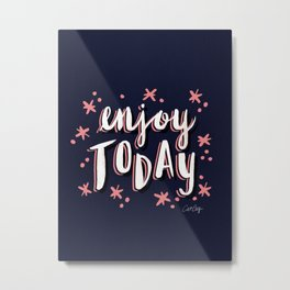 Enjoy Today – Navy & Pink Metal Print