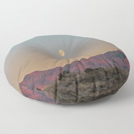 Sunset Moon Ridge // Grainy Red Mountain Range Desert Landscape Photography Yellow Fullmoon Blue Sky Floor Pillow