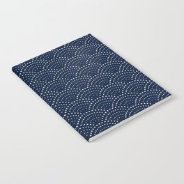 Japanese Blue Wave Seigaiha Indigo Super Moon Pattern Notebook