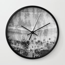 Tropical paradise in black and white | Las Terrenas Dominican Republic drone photography print Wall Clock