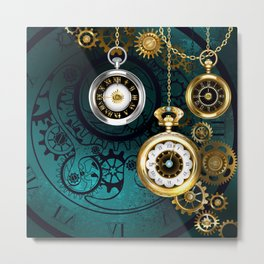 Clock with Gears on Green Background ( Steampunk ) Metal Print