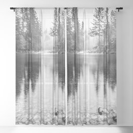 Forest Reflection Lake - Black and White  - Nature Photography Sheer Curtain