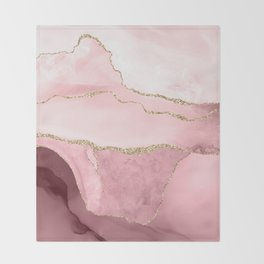 Blush Marble Art Landscape Throw Blanket