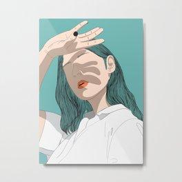 Woman shading her hand Metal Print