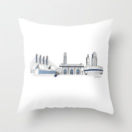 Kansas City Skyline Illustration in Sporting KC Colors Throw Pillow
