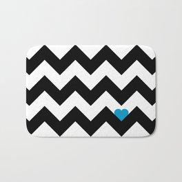 Heart & Chevron - Black/Blue Bath Mat