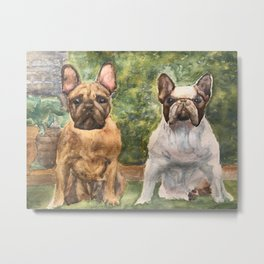 French Bulldogs At the Ready Metal Print
