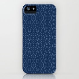 Indigo blue diamond sashiko style japanese embroidery pattern. iPhone Case