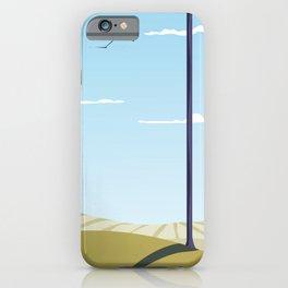 Green hillside and trees cartoon landscape. iPhone Case