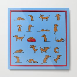 Sausage the Dog: Blue Print Metal Print