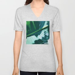 Bird of Paradise Leaf in Dappled Sunlight and Shadow Unisex V-Neck