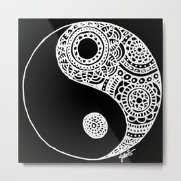 Black and White Lace Yin Yang Metal Print