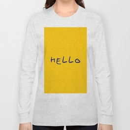 hello 5- orange and blue Long Sleeve T-shirt