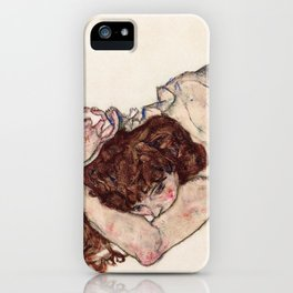 Kneeling Girl, Resting on Both Elbows iPhone Case