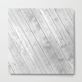 Rustic country white gray abstract wood  Metal Print