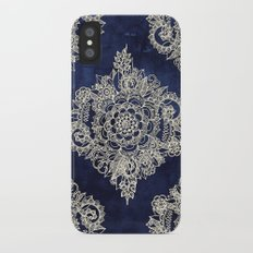 Cream Floral Moroccan Pattern on Deep Indigo Ink iPhone X Slim Case