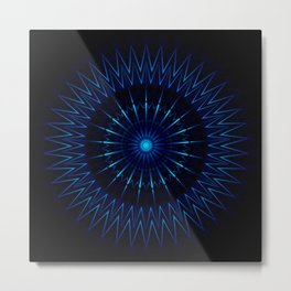 Blue Light Mandala Metal Print