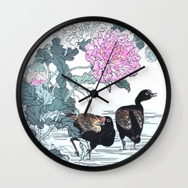 Two Moorhens And Flowers - Antique Japanese Woodblock Print Art - Kono Bairei Wall Clock