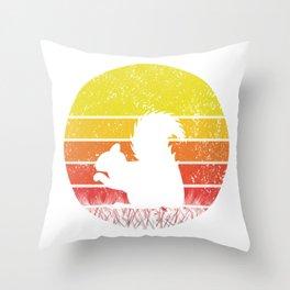 Retro Squirrel Silhuette Sunset Vintage Safari Gift Throw Pillow