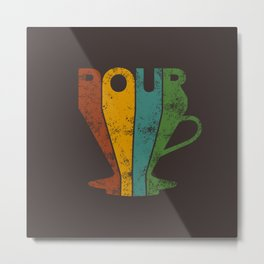 Pour Over Coffee Lover // Abstract Typography Wall Artwork Graphic Design Kettle Metal Print