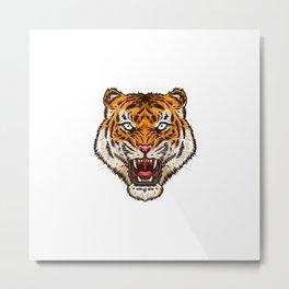 Angry Tiger Head Logo Metal Print