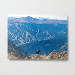 Dog Gone Climbing 2 // High above Copper Mountain Ski Resort in Colorado Landscape Photograph Metal Print