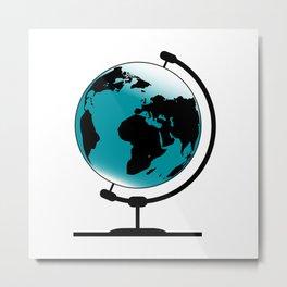 Mounted Globe On Rotating Swivel Metal Print