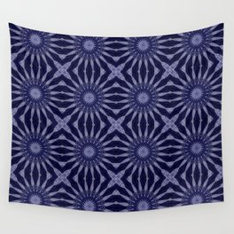 Pinwheel Flowers Pattern Indigo Blue Wall Tapestry