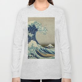 The Classic Japanese Great Wave off Kanagawa Print by Hokusai Long Sleeve T-shirt