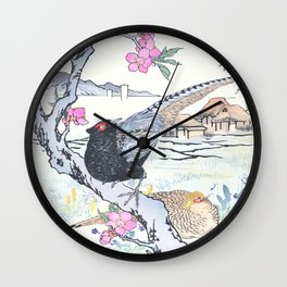 Pheasants and Blossomed Peach Tree - Vintage Japanese Woodblock Print Art By Kono Bairei Wall Clock