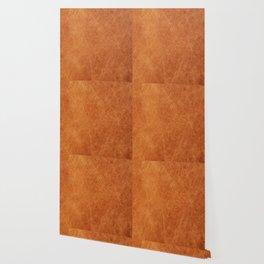 Farmhouse Style Original Camel Leather Oriental Design. Wallpaper