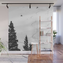 Backcountry Skier // Fresh Powder Snow Mountain Ski Landscape Black and White Photography Vibes Wall Mural