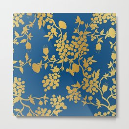 Blue and Gold Tree Metal Print
