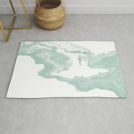 Moki - spilled ink japanese printmaking marble paper mint pastel watercolor painting abstract  Rug