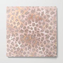 Rosegold Blush Leopard Glitter   Metal Print